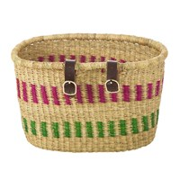 The Basket Room Nisobila Hand Woven Bicycle Pink Green