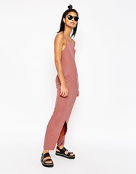 Asos Maxi Dress With 90S High Neck In Rib Stone