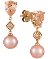 Le Vian Peach Morganite 1 1 2 Ct. T.W. Pink Cultured Freshwater Pearl 9Mm And Diamond Accent Drop Earrings In 14K Rose Gold