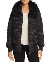 Jocelyn Shearling Trim Reversible Camo Down Bomber Jacket 100 Exclusive Charcoal
