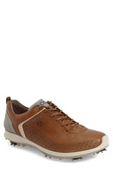 Men's Ecco 'Biom' Hydromax Waterproof Golf Shoe Camel Oyster Leather