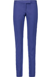Balmain Pierre Satin Trimmed Crepe Skinny Pants Royal Blue