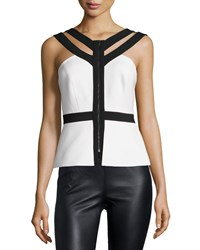 Bcbgmaxazria Jenson Sleeveless Colorblock Top Off White