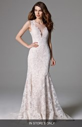 Women's Watters 'Ashland' Illusion Lace Mermaid Dress In Stores Only