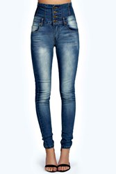 Boohoo Sandy Super High Waisted Skinny Mid Blue Jeans Mid Blue