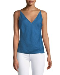 J Brand Lucy V Neck Linen Camisole Deep Seas