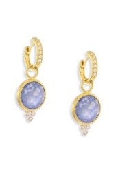 Jude Frances Provence Diamond And Sapphire Rainbow Moonstone Doublet Round Earring Charms Gold Sapphire