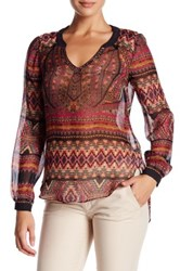 Hale Bob Embellished Long Sleeve Silk Tunic Red
