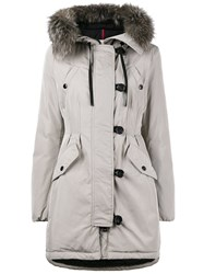 Moncler Mid Length Fitted Parka With Fur Trimmed Hood Cotton Feather Down Polyamide Polyester Nude Neutrals