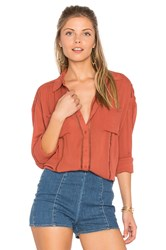 Amuse Society Belmont Woven Top Red
