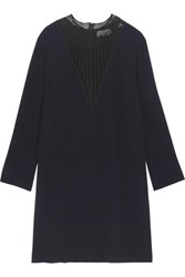 A.L.C. Allie Crochet Paneled Crepe Mini Dress Midnight Blue