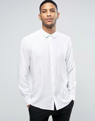 Asos Oversized Peached Viscose Shirt In White White
