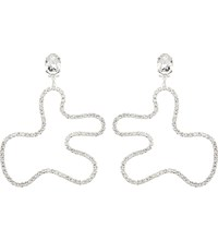 Art School For Fashion East Abstract Sterling Silver And Crystal Earrings Clear