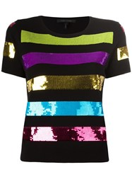 Marc Jacobs Sequinned Striped Top Black