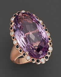 Bloomingdale's Pink Amethyst Black Sapphire And Diamond Ring In 14K Rose Gold