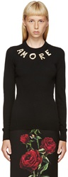Dolce And Gabbana Black Cashmere Amore Sweater