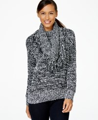 Charter Club Fringed Detachable Collar Sweater Only At Macy's Black White
