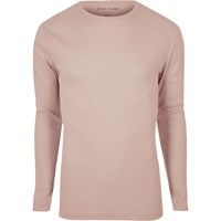 River Island Mens Pink Ribbed Slim Fit Long Sleeve T Shirt