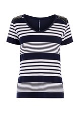 Karen Millen Stripy Studded Tee Blue Multi