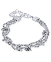 Charter Club Silver Tone Multi Chain Knotted Link Bracelet