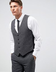 Farah Winter Wedding Skinny Waistcoat In Fleck Charcoal Grey