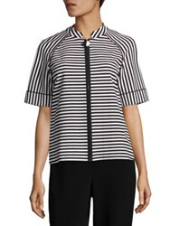 Lafayette 148 New York Ethan Striped Ponte Jacket Black Multicolor