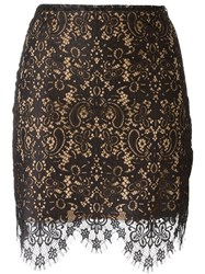 For Love And Lemons Scalloped Lace Hem Fitted Skirt Black