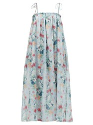 Loup Charmant Rimini Floral Print Cotton Blend Midi Dress Blue Multi