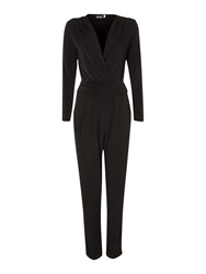 John Zack Long Sleeve Wrap Front Jumpsuit Black