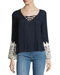 Liv Los Angeles Relaxed Blouse With Crochet Trim Sleeves Navy