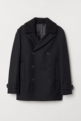 Handm H M Wool Blend Pea Coat Black