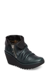 Fly London Women's Yoxi Wedge Bootie Seaweed Leather