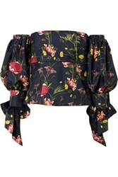 Mother Of Pearl Off The Shoulder Floral Print Silk Satin Twill Top Midnight Blue