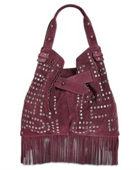 Sam Edelman Emily Studded Bucket Bag Port Wine