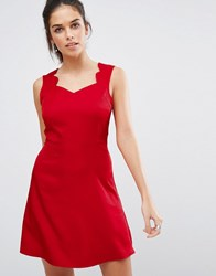 Daisy Street Skater Dress With Scallop Edge Strap Red