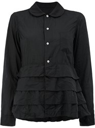 Comme Des Garcons Tiered Hem Long Sleeve Shirt Women Polyester S Black
