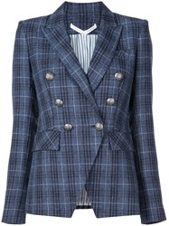 Veronica Beard Checked Double Breasted Blazer Blue