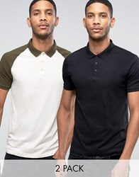 Asos 2 Pack Polo Shirt With Contrast Raglan Sleeve And Plain Black Multi