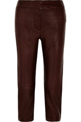 Alexander Mcqueen Cropped Leather Tapered Pants