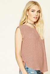 Forever 21 Triangle Print Pleated Blouse Mauve Ivory