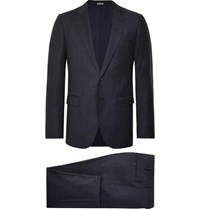 Lanvin Navy Attitude Slim Fit Wool And Cashmere Blend Suit Blue