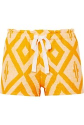 Lemlem Biruhi Printed Cotton Blend Gauze Shorts Yellow
