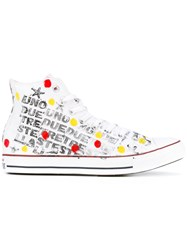 Converse Spotted Hi Top Sneakers Men Canvas Rubber 42 White