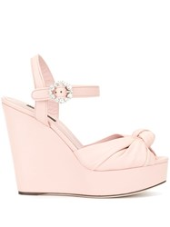 Dolce And Gabbana Knot Wedge Sandals Pink