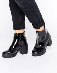 New Look Patent Zip Up Chunky Boot Black