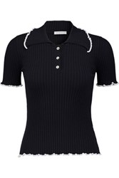 J.W.Anderson Ruffled Ribbed Knit Polo Top Navy
