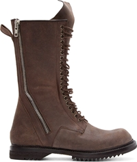 Rick Owens Brown Leather Distressed Lace Up Boots
