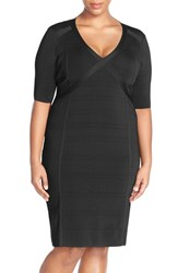 Plus Size Women's Adrianna Papell V Neck Sweater Knit Sheath Dress