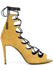 Pierre Hardy Lace Up Sandals Leather Suede Brown