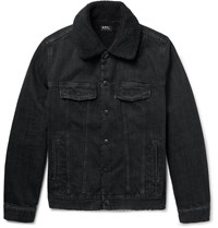 A.P.C. Faux Shearling Lined Washed Denim Jacket Black